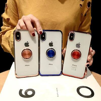 For Phone Xs Max Xr 8 Plus Metal Ring Holder Case Shockproof Clear Plated Cover