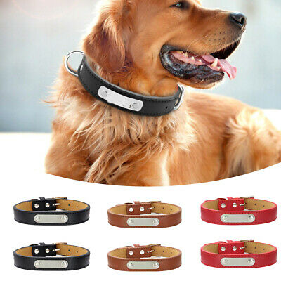 Pet Dog Collars Leather Collar Chain ID Name Engraved Chain Collar Supplies