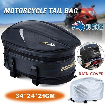 Motorcycle Touring Rear Pillion Seat Tail Bag Luggage Expandable Easy Carry New