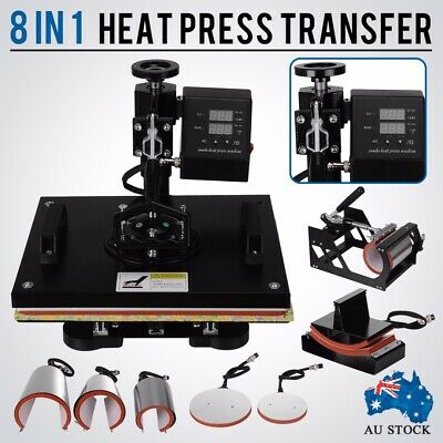 Press Transfer T-Shirt Hat Mug Sublimation Printing Printer Machine 8 IN 1 AUS