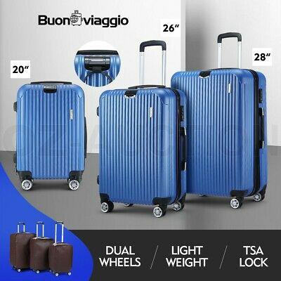 3PCS Luggage Suitcase Trolley Set TSA Hard Case Travel Storage Organiser Blue