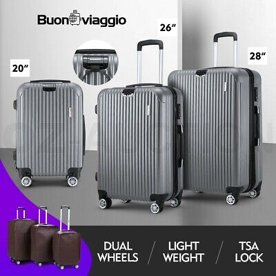 3PCS Luggage Suitcase Trolley Set TSA Hard Case Travel Storage Organiser Grey