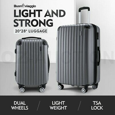 2PCS Luggage Suitcase Trolley Set Travel TSA Hard Case Storage Organiser Bag