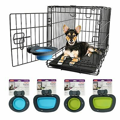 Dexas Collapsible Kennel Bowl Dog Puppy Cage Feeder Food Water Travel Dish
