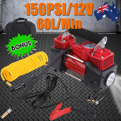 60L/MIN LED Car Air Compressor 12V 150PSI Tyre Inflator Pump 4x4 Portable Kit