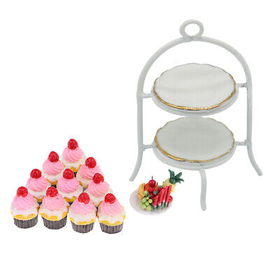 Miniature Food Stand & Cup Cake Set For 1/12 Dolls House Kitchen Ornaments