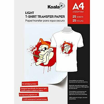 KOALA Inkjet Iron On T Shirt Transfer Paper For Light Fabrics x 25 Sheets, A4