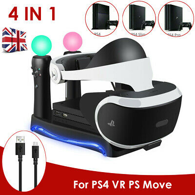 For PS4 VR PS Move Game Controller Charging Dock Charger Station Stand Holder UK
