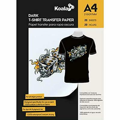 KOALA Inkjet Iron On T Shirt Transfer Paper for Dark Fabrics x 20 Sheets, A4