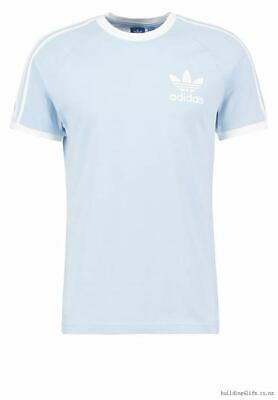 Adidas Originals Mens Trefoil California Tees Crew Neck T Shirt Sky Blue NEW