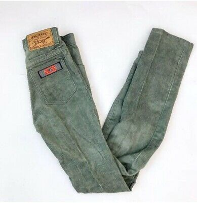 Vtg 60s 70s Blue Grey Cord Slim NOS Retro Classic French Trousers 8-10 Y