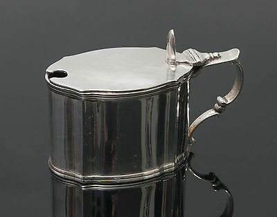 Victorian Solid Silver & Blue Glass Liner Mustard Pot Hallmarked London 1898