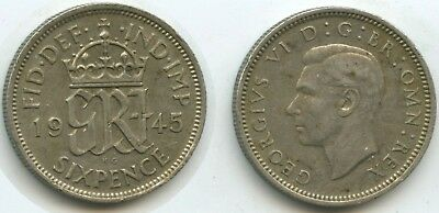 G2221 - Großbritannien Six Pence 1945 KM#852 George VI. Silber Great Britain