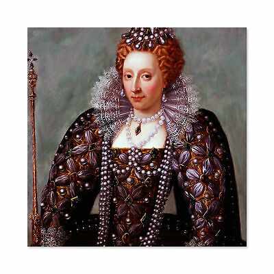 Anonymous Portrait Queen Elizabeth I England Painting Large Wall Art Print 24X24