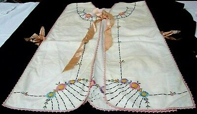 ANTIQUE 1920s VINTAGE HAND EMBROIDERED FANCY LINEN APRON