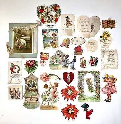 Antique Victorian Assorted Lot Of Valentine Day Card Many Great Pieces #1