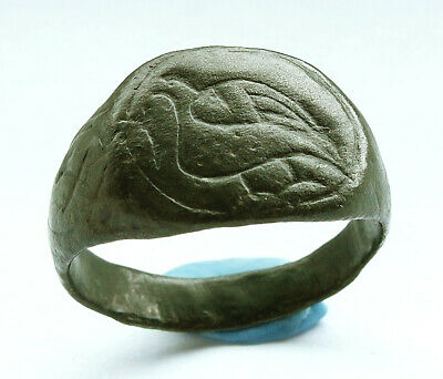 Genuine ancient Byzantine Æ ring with dove engraving: Circa 10th century AD