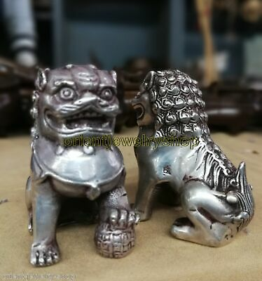 Antique Tibet Silver Foo Fu Dog Door guard carved bronze Lion Statue Pair