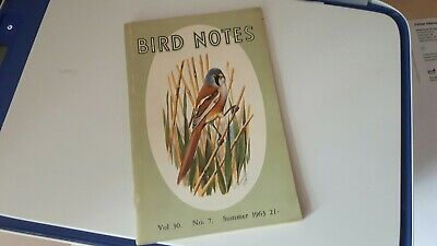 Vintage RSPB 'Bird Notes' - Bearded tit cover painting by CF Tunnicliffe