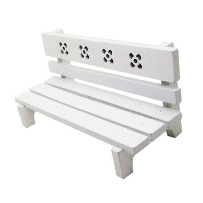 2PCS 2.6cm  White Park Bench Dollhouse Miniature Landscape Ornaments Model  X