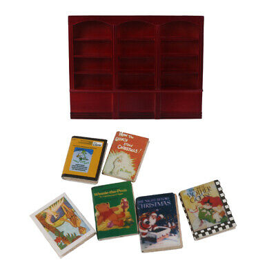 1/12 Dollhouse Miniatures Furniture Grand Wooden Bookcase Cabinet & Books