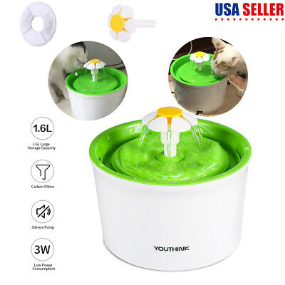 Automatic Electric 1.6L Adjustable Pet Water Fountain Dog/Cat Drinking Filter US