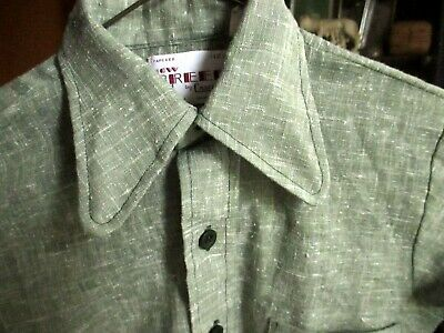 sz 12 True Vtg 70s Boys CAMPUS NEW BREED GREEN AVOCADO FLECK MOD DISCO SHIRT