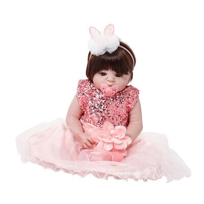 55cm Lovely Reborn Baby Girl Doll w/ Pink Dress Accs Child Sleeping Playmate