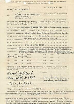 Frank McHugh- Signed Contract from 1955