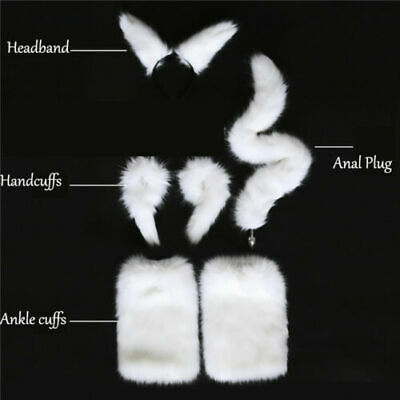 White Tail and Ears Anal-Butt Plug Romance Game Funny cuffs Couples Cosplay Sexy