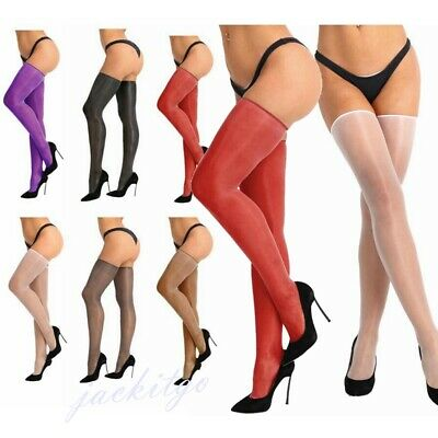 Women's Opaque Spandex Thigh High Long Stockings Hold Up Pantyhose Tights Sexy