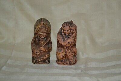 Vintage Syroco Wood Indian Native American S & P Shakers 1949