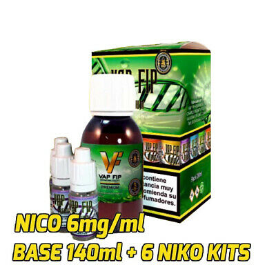 BASE VAP FIP PARA AROMAS VAPEO 140ml + 6 NIKO KITS (NICO 6mg/ml) liquido vapear