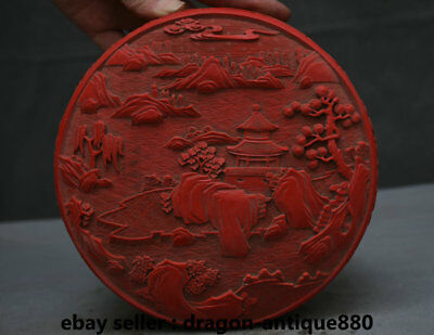 "7"" Old Chinese Red lacquerware Dynasty pavilion Hill River scenery Jewelry Box"
