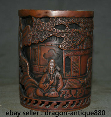 """5.2"""" Marked Old Chinese Red Bronze Dynasty Man Play Chess Brush Pot Pencil Vase"""