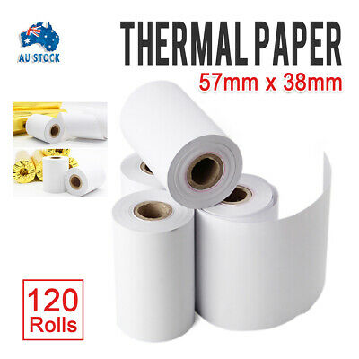 57x38mm 120 Bulk White Rolls Premium EFTPOS Thermal Paper Cash Register Receipt