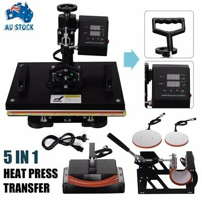 5IN 1 SWING Heat Press Machine Sublimation Transfer Cap Plate Mug T-shirt Print
