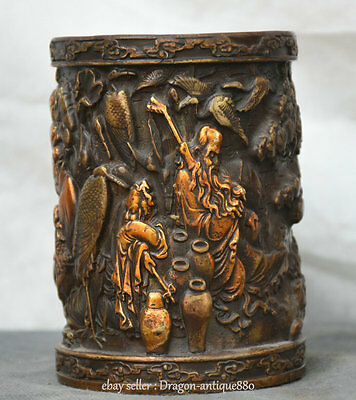"""5"""" Marked Rare Old Chinese Bronze Dynasty 8 Immortals God Brush Pot Pencil Vase"""