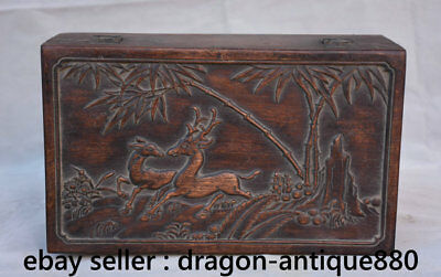 "12"" Old Chinese Huanghuali Wood Dynasty Palace Deer Bamboo jewel case or box"