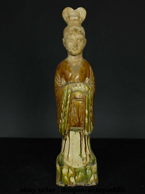 """18.4"""" Old Chinese Tang Sancai Ceramics Dynasty Palace Stand People Sculpture"""