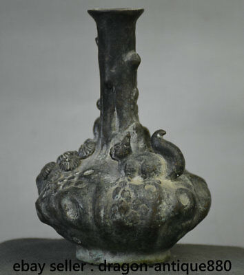 """6"""" Qianlong Marked Old Chinese Bronze Dynasty Pine Tree Squirrel Pot Bottle Vase"""