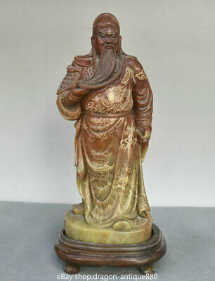 """12"""" Old Chinese Natural Shoushan Stone Carved Guan Gong Yu Warrior God Sculpture"""