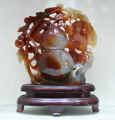 """12"""" Chinese 100% red agate Onyx Carving Monkey Animal Gourd melon Wealth Statue"""