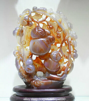 """16"""" Natural 100% Agate Onyx Jade Hand Carving Gourd Wealth Monkey melon Statue"""