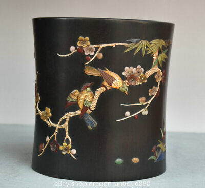 """7.6"""" Old Chinese Rosewood Inlay Shell Dynasty Flower Bird Brush Pot Pencil Vase"""