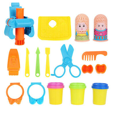 17pcs Haircut Doll Tools Kits Role Pretend Play Playhouse Modeling Clay Toys
