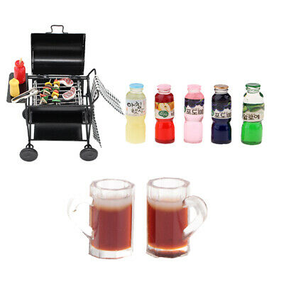 1/12 Dollhouse Miniature Barbecue Oven Grill Foods Toy Drink BBQ Accessories