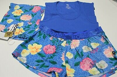 New Bonds Ladies Cotton Blue Cotton Pj Sleep Singlet Boxer Set Size 12 Rrp $44.9