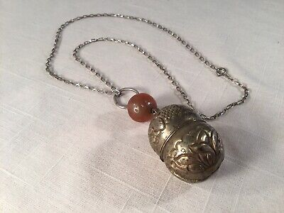 Antique Chinese Silver Bell Pendant And Cornelian Agate With Sterling Chain