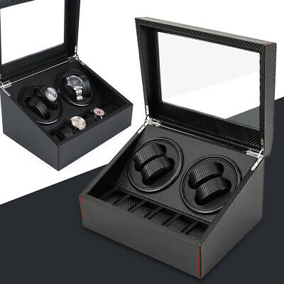 4+6 Watch Winder Automatic Rotation Watch Display Box Carbon Fiber Storage Case